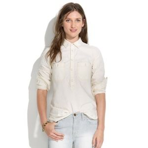 Madewell Ivory Chambray Popover Shirt - Size M